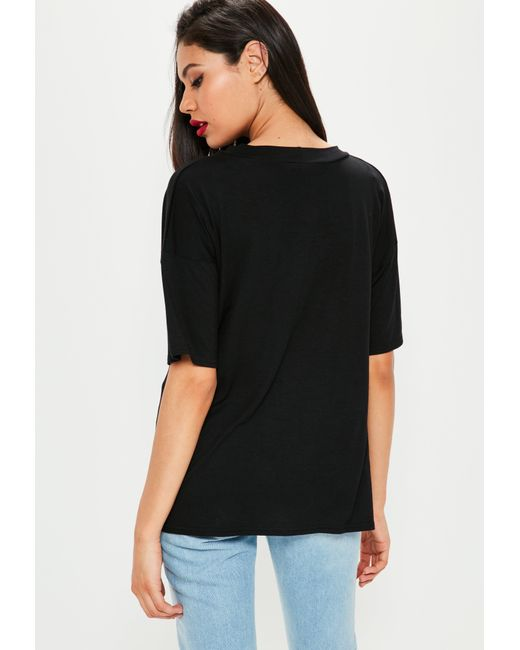 2ff83f14f40 Lyst - Missguided Black Choker Neck Cut Out T-shirt in Black