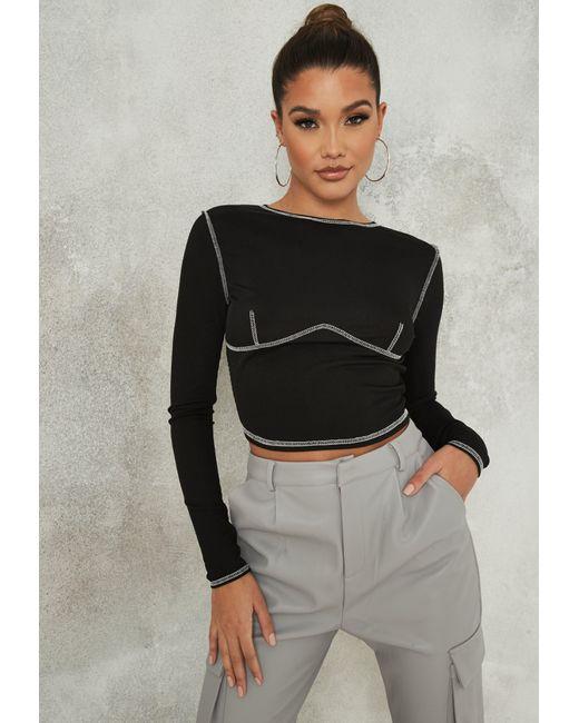 Missguided Black Contrast Stitch Seam Crop Top