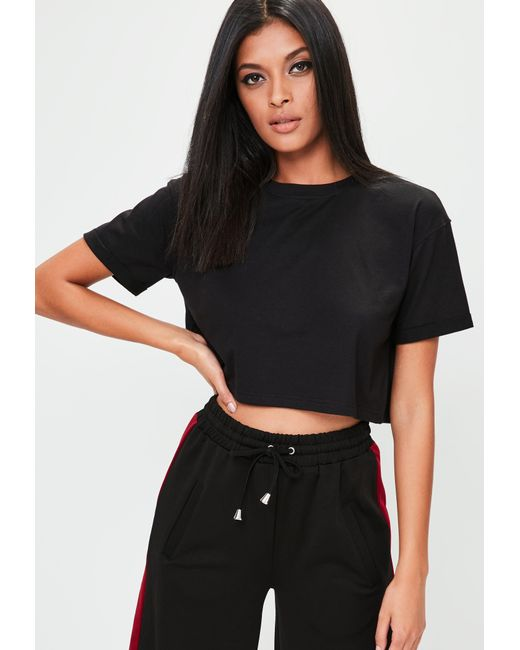 Missguided - Petite Black Roll Sleeve Cropped Top - Lyst