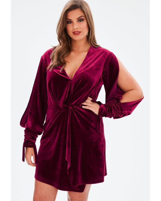 Missguided - Multicolor Curve Wine Velvet Twist Dress - Lyst