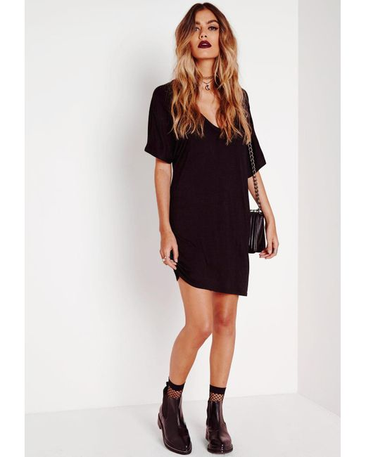 138645bf34c Missguided Tall Black Wide V Neck T-shirt Dress in Black - Save 33 ...