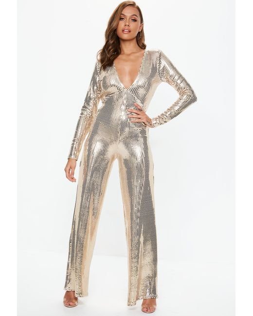 acac3e08b9d8 Missguided - Metallic Gold Plunge Sequin Jumpsuit - Lyst ...