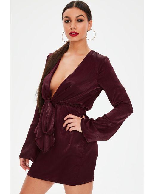 Missguided - Purple Burgundy Satin Plunge Tie Front Shift Dress - Lyst