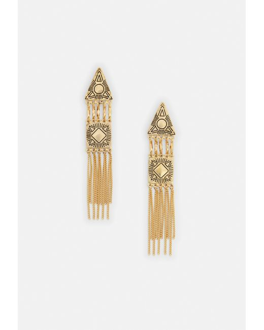 Missguided - Metallic Gold Drop Triangle Earrings - Lyst