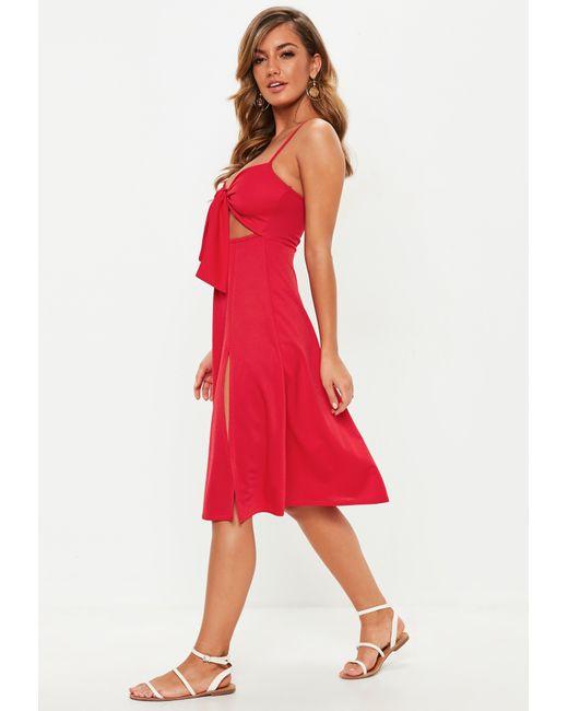... Missguided - Red Tie Front Split Midi Dress - Lyst ... 44d36345f
