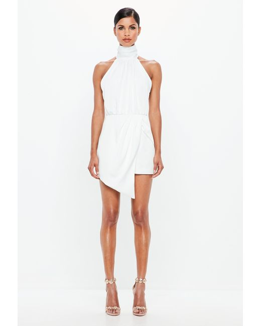 469c10a39884 ... Missguided - Peace + Love White Wrap Satin Playsuit - Lyst ...