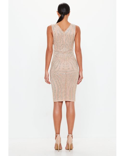 3823f065b1 ... Missguided - Natural Peace + Love Nude Embellished Plunge Midi Dress -  Lyst ...