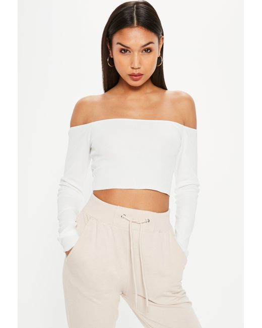 4d405ceb126 Missguided White Bardot Crop Knitted Top in White - Lyst