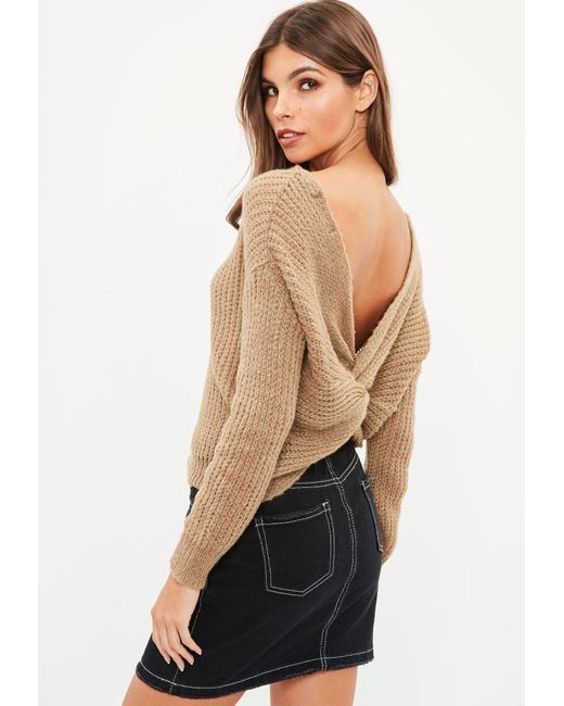 Missguided - Petite Brown Fluffy Yarn Twist Back Sweater - Lyst