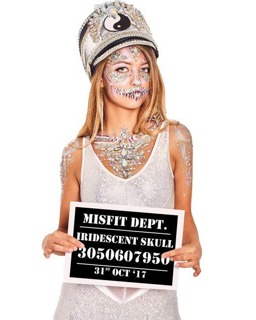 Missguided - Metallic The Gypsy Shrine Silver Skull Chest Body Jewel - Lyst