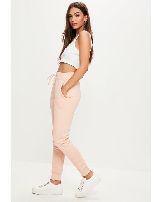 Missguided | Pink Tie Waist Joggers | Lyst