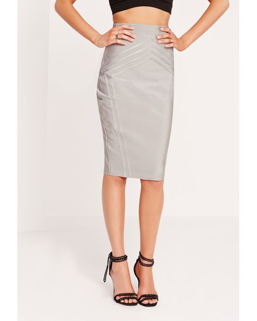 missguided high waisted bandage midi skirt grey in gray