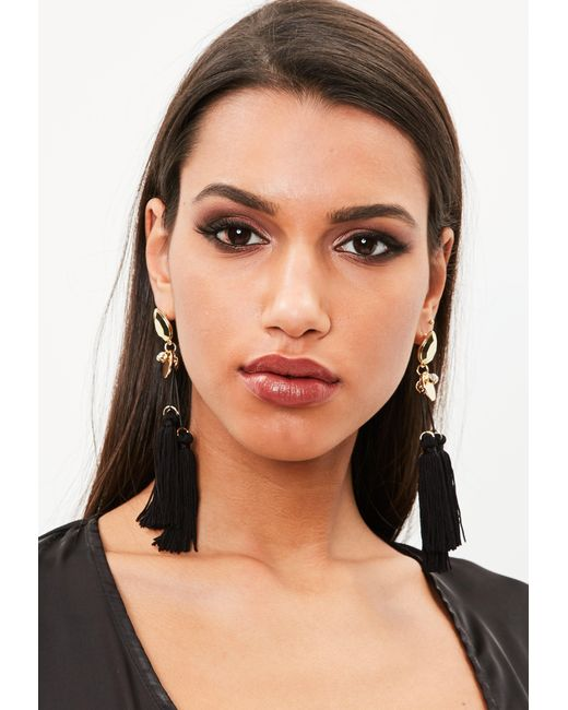 Missguided - Black Tri Tassel Drop Earrings - Lyst