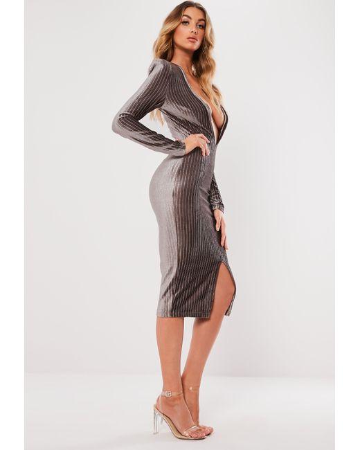 30a6a62849864 Women's Gray Grey Metallic Stripe Plunge Bodycon Dress