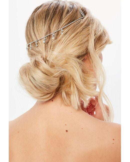 Missguided - Metallic Silver Diamante Droplet Hair Chain - Lyst