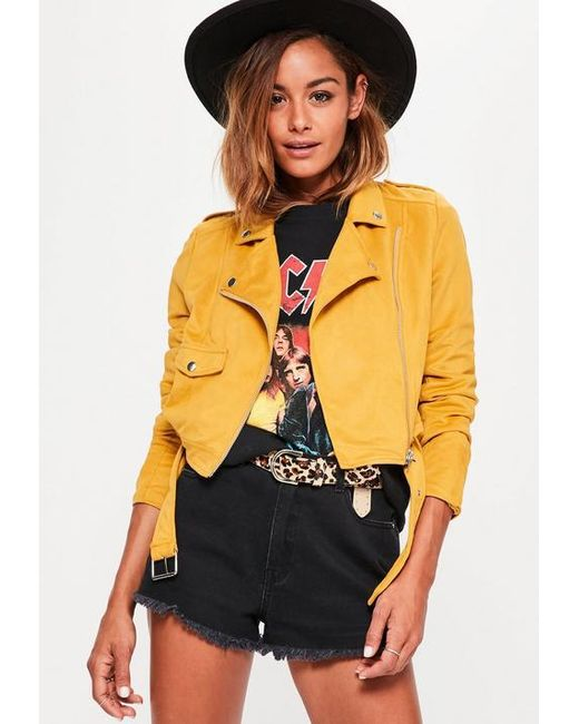 Missguided - Yellow Faux Suede Belted Biker Jacket Mustard - Lyst