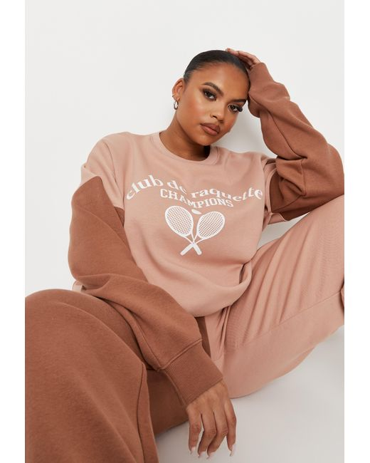 Missguided Brown Plus Size Colorblock Graphic Sweatshirt