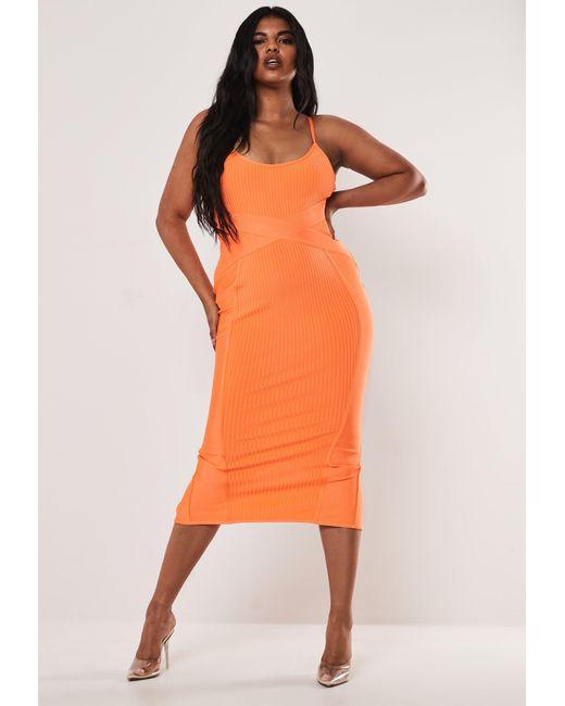 Women\'s Size Orange Cami Bandage Midaxi Dress