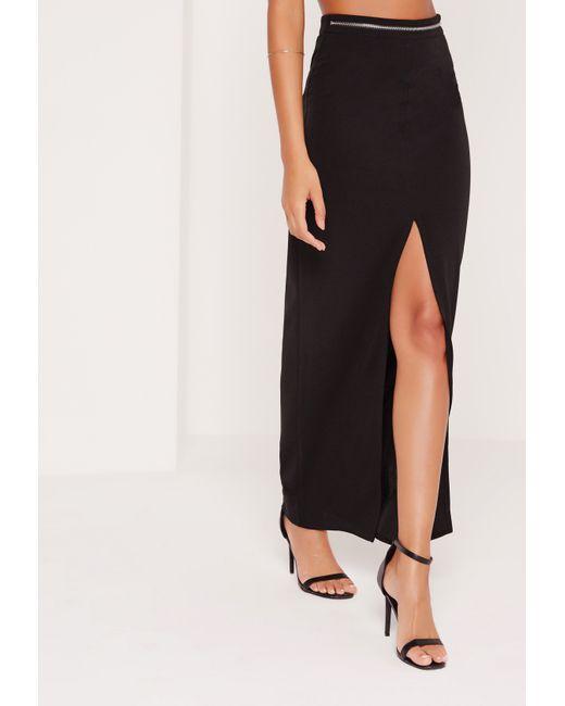 missguided zip waist maxi skirt black in black lyst