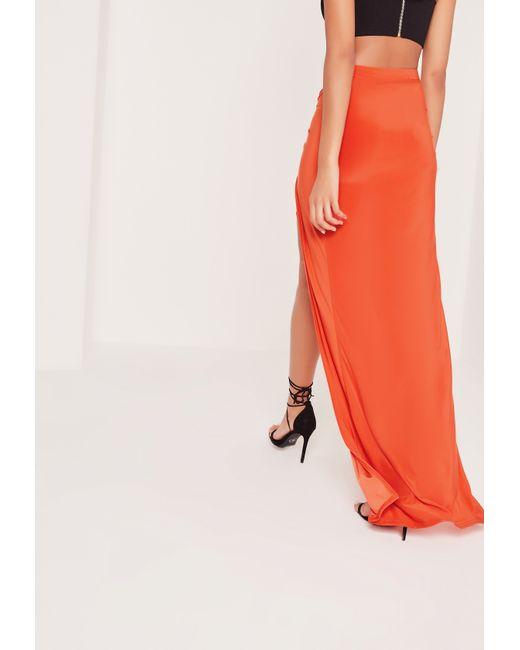 missguided knot front slinky maxi skirt orange in orange