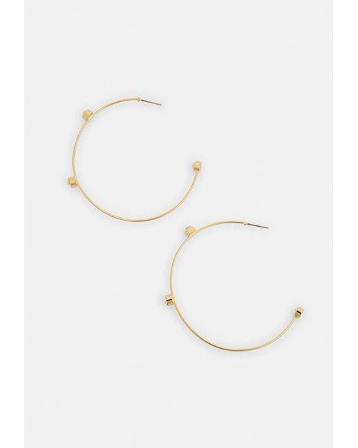 Missguided - Metallic Gold Diamante Stud Detail Hoop Earrings - Lyst
