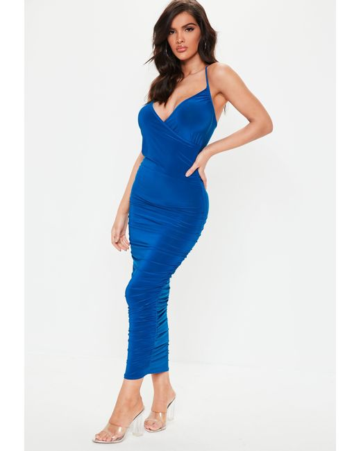 19d25dc949 Lyst - Missguided Blue Slinky Ruched Wrap Maxi Dress in Blue