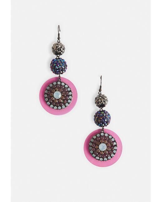 Missguided - Pink Rhinestone Drop Earrings - Lyst