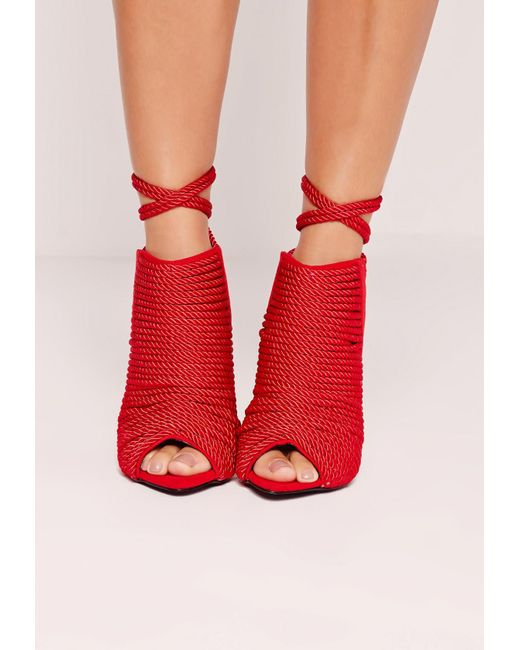missguided red rope detail heeled ankle boots red in red. Black Bedroom Furniture Sets. Home Design Ideas