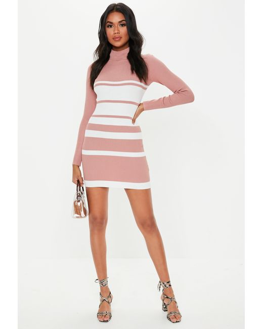 3a00284261 ... Missguided - Pink Stripe High Neck Knitted Dress - Lyst ...
