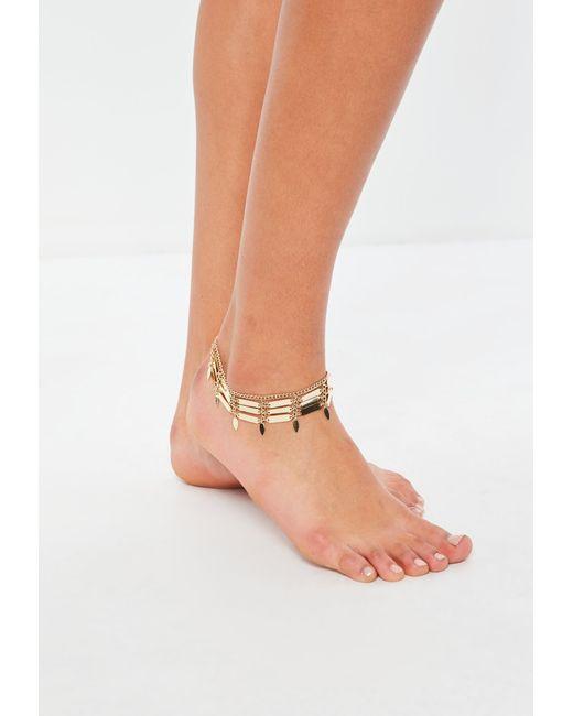 Missguided - Metallic Gold Leaf Anklet - Lyst