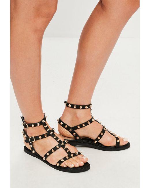 Missguided - Black Studded Gladiator Sandals - Lyst