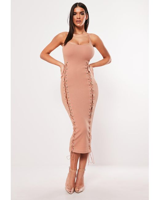 10e558ce96 Missguided - Natural Nude Eyelet Lace Up Ribbed Bodycon Midaxi Dress - Lyst  ...