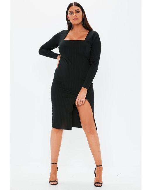 7d9c2d055596 ... Missguided - Plus Size Black Bandage Square Neck Midi Dress - Lyst ...