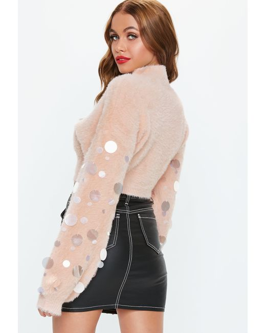4178f3f60e5 Lyst - Missguided Pink Disc Sequin Fluffy Cropped Sweater in Pink