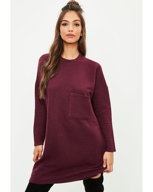 Missguided Burgundy Ribbed Pocket Sweater Dress | Lyst