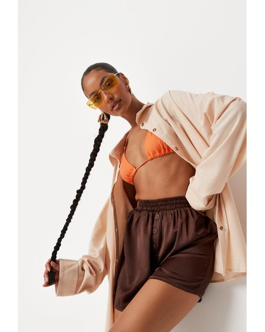 Missguided Brown Chocolate Satin Button Through Boxer Shorts