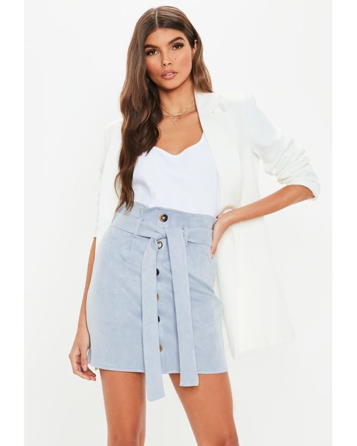 a5e902771 Missguided Blue Suede Paperbag Mini Skirt in Blue - Lyst