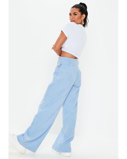b1c015edb6dd5 Lyst - Missguided Blue Paperbag Waist Cord Wide Leg Pants in Blue
