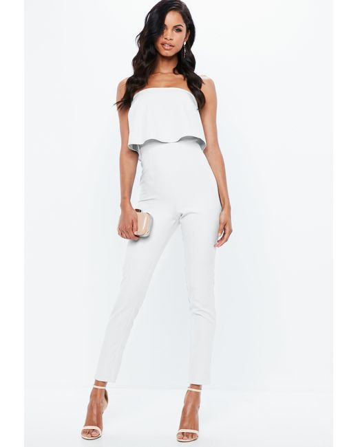ae36b2bb765e ... Missguided - Black Bandeau Double Layer Jumpsuit White - Lyst ...