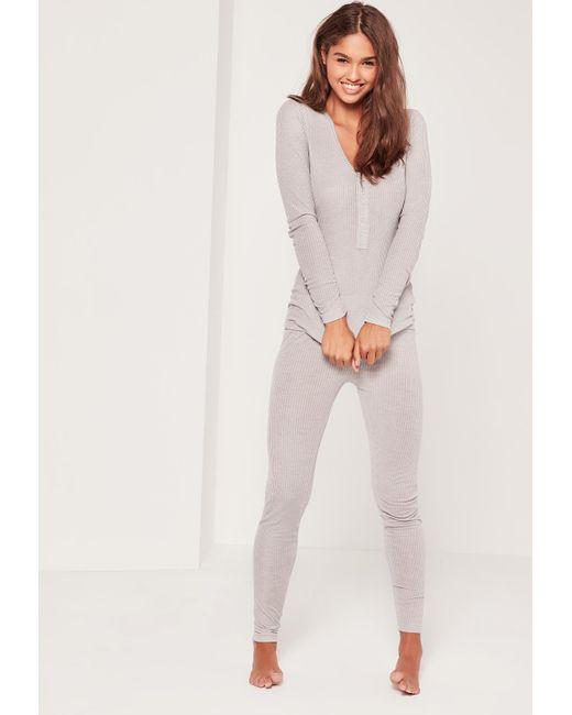 Missguided | Gray Grey Ribbed Top & Leggings Pyjama Set | Lyst