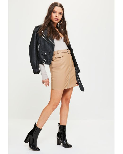 Missguided Nude Faux Leather Biker Detail Mini Skirt In Natural  Lyst-1978