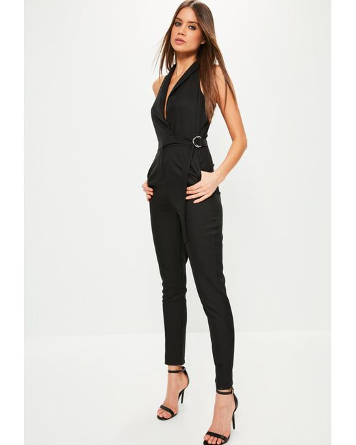 Missguided | Black Sleeveless Wrap Tuxedo Jumpsuit | Lyst