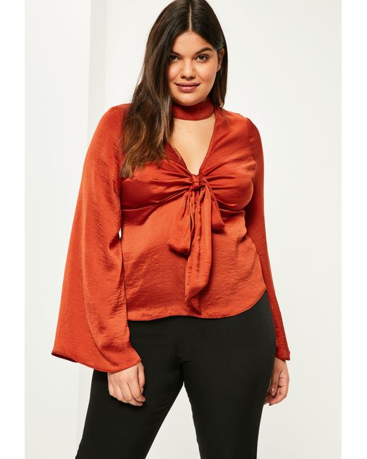Missguided plus size orange satin choker neck blouse in for Satin shirt dress plus size