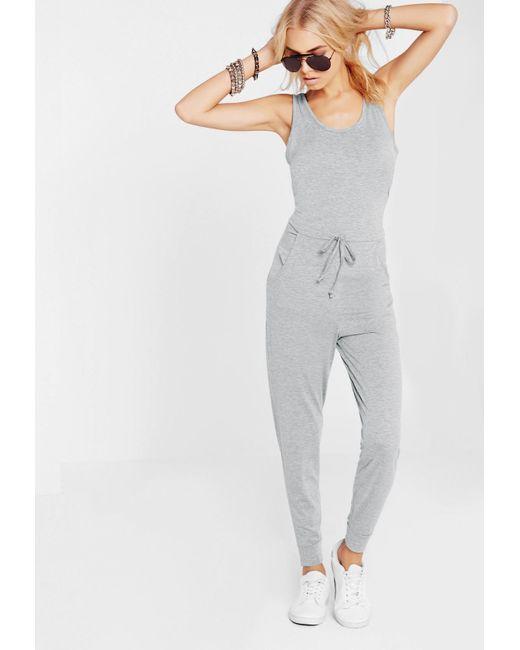 Missguided - Gray Sleeveless Tie Waist Jumpsuit - Lyst