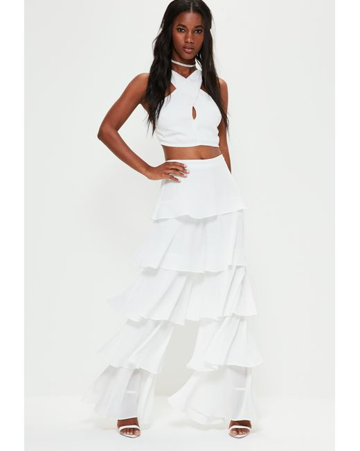 Missguided White Chiffon Tiered Frill Wide Leg Trousers