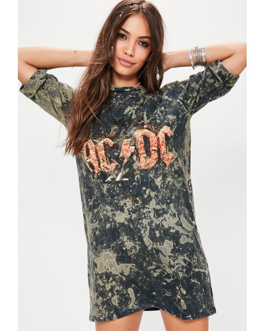 Missguided | Dark Blue Washed Acdc Oversized T-shirt Dress | Lyst