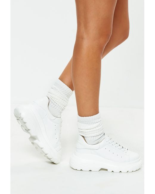 Missguided - White Double Sole Lace Up Trainers - Lyst