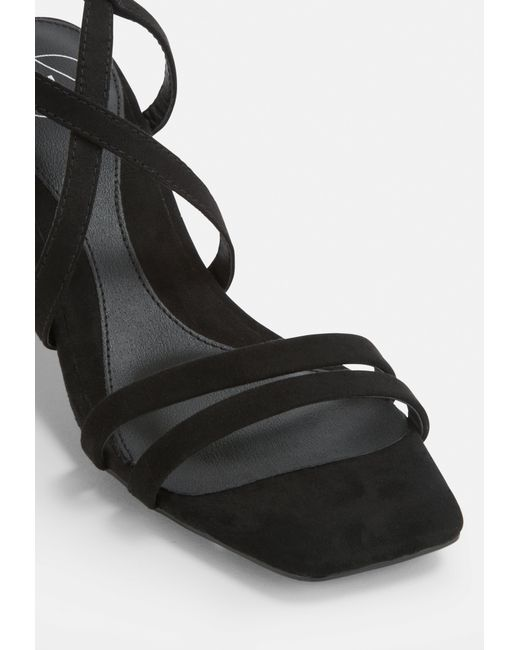 5623e7c354e ... Missguided - Black Two Strap Lace Up Mid Heel Sandals - Lyst ...