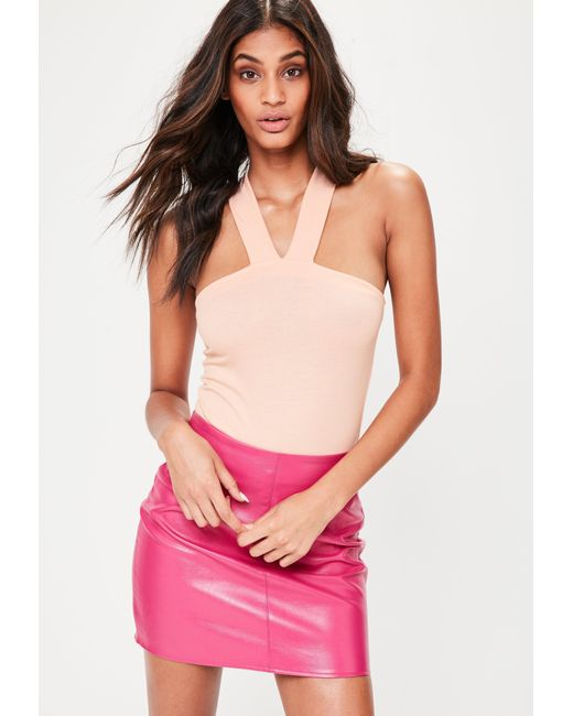 Missguided | Natural Nude Front Strap Detail Bodysuit | Lyst