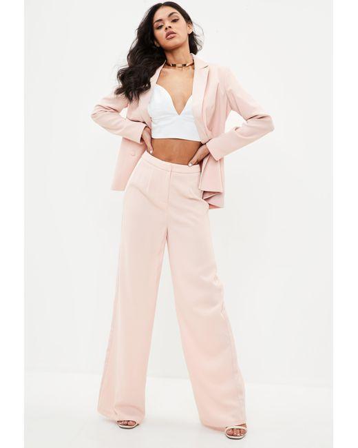 Missguided - Pink Satin Stripe Wide Leg Pants - Lyst
